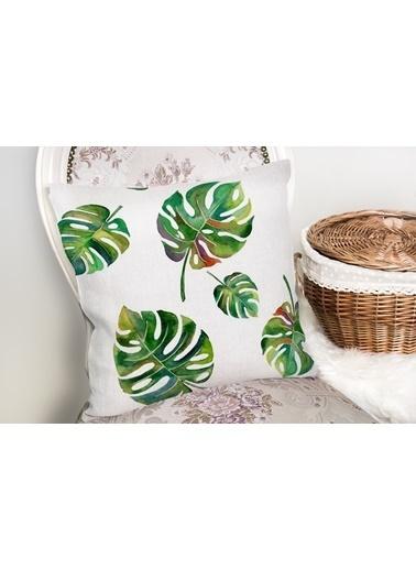 Real Homes Suluboya Palmiye Yaprakları Desenli Özel Tasarım Yastık Kırlent Kılıfı Renkli